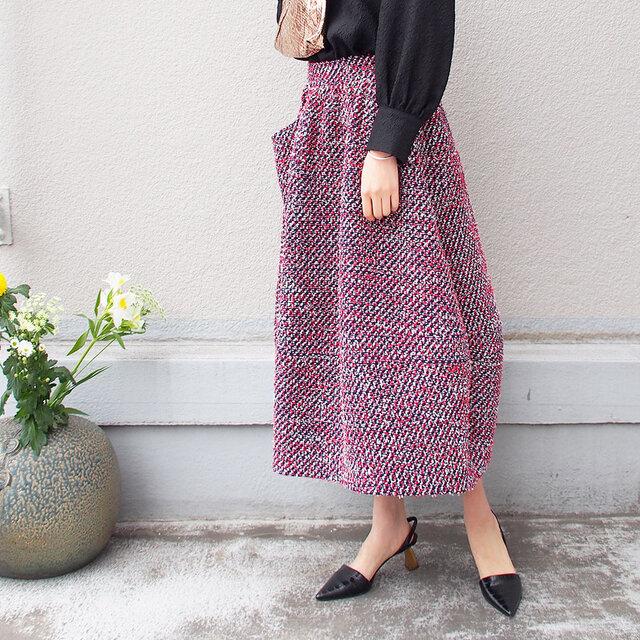 【数量限定ハンドメイド送料無料】ウール混 ツイード地の蕾スカート18050-2の画像1枚目