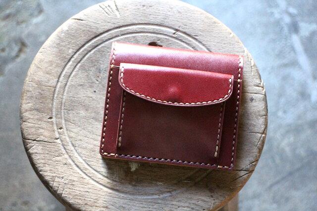 【受注生産品】コインが取り出しやすい二つ折り財布 ~栃木アニリンバーガンディー×栃木ヌメ~の画像1枚目