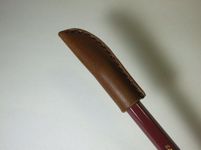 鉛筆キャップ 焦げ茶の画像1枚目