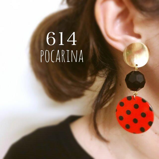 614…赤×黒 ドット イヤリング ピアス ハンドメイド  pocarinaの画像1枚目