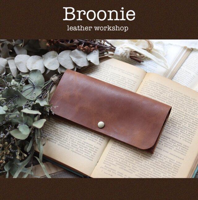 【ブラウン】◎薄い◎シンプルスリムな長財布◎の画像1枚目