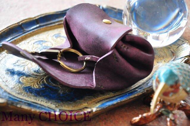 イタリアンレザー・革新のプエブロ・アコーディオンコインキーケースミニ(バイオレット)の画像1枚目