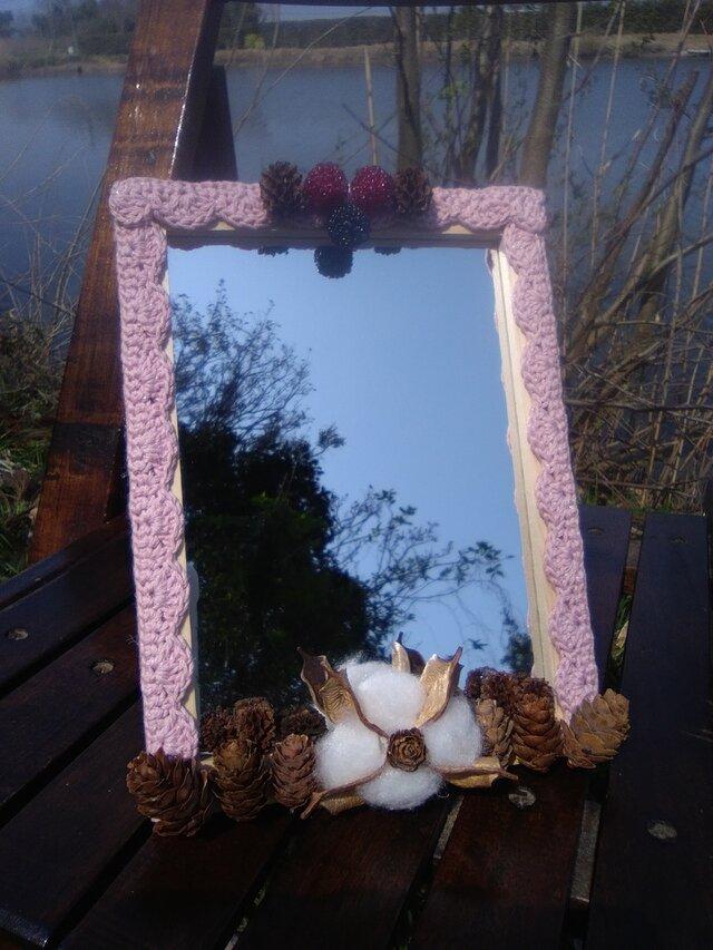 自然素材のロマンティックな卓上スタンドミラー 大 (6)の画像1枚目