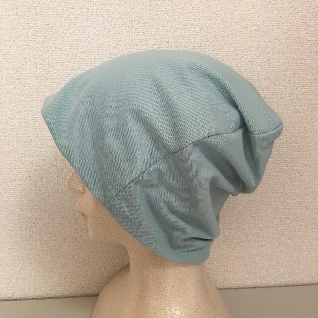 カットソー素材の帽子 アクアブルーの画像1枚目