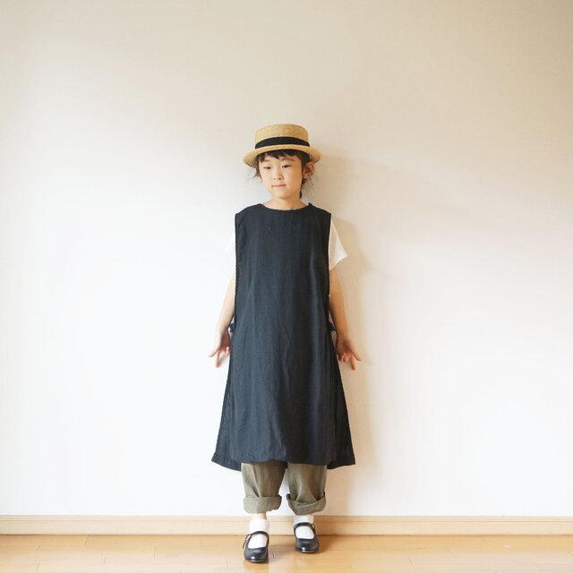 Linen apron one piece kids 3(120cm~),4(140cm~)sizeの画像1枚目