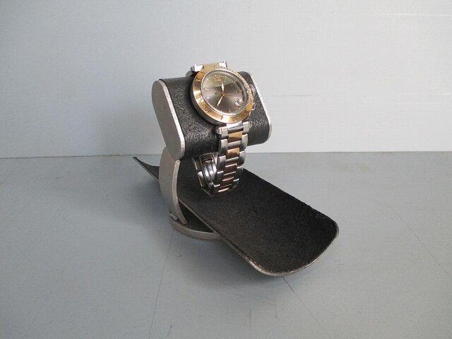 ブラックだ円パイプ支柱カーブ腕時計スタンドロングトレイ 2019-4-17の画像1枚目