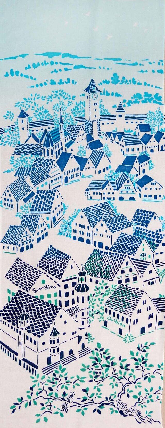 型染めてぬぐい「城塞の街 ‐青い屋根と鳥-」(綿100%・手染め捺染)の画像1枚目