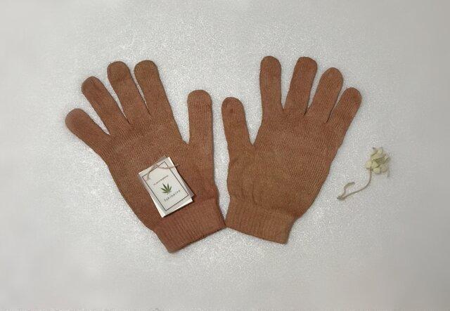 限定 満月 琵琶 茜染め 冷え取り エコシルク 手袋の画像1枚目