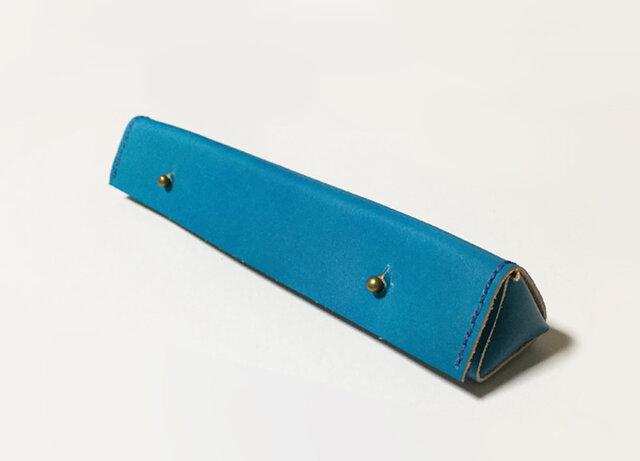 革のペンケース(ターコイズブルー)の画像1枚目