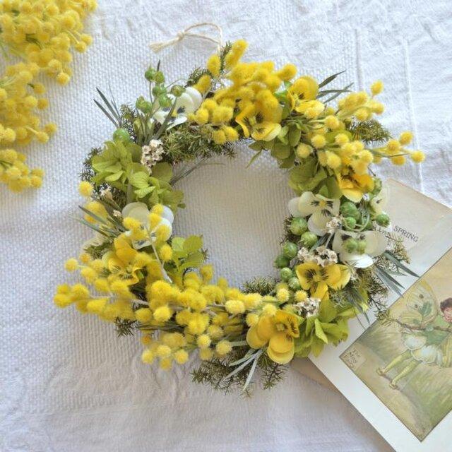 ミモザ~春を祝うリース の画像1枚目