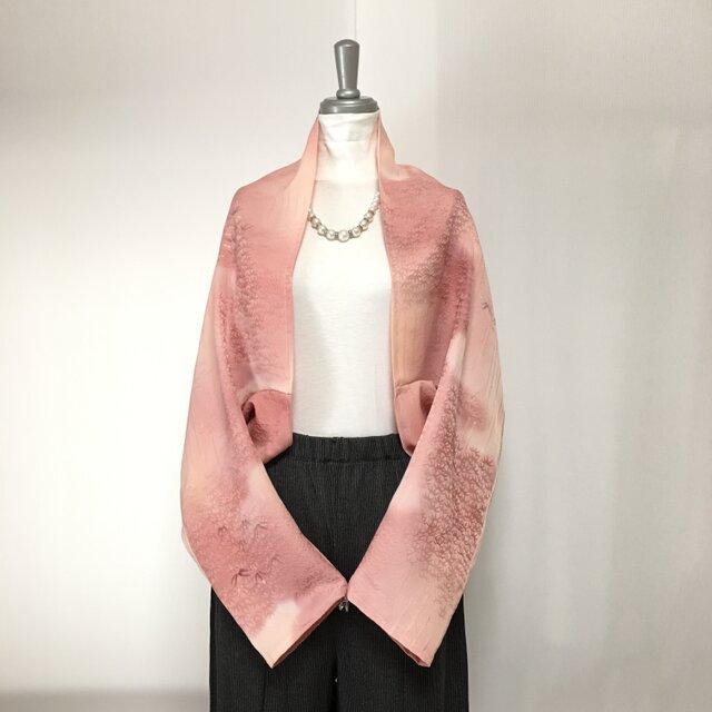 正絹反物 マーガレット ストール 長袖  羽織りもの 着物リメイク(17)の画像1枚目