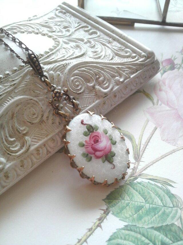 ヴィンテージ Guilloche エナメル薔薇/flower ネックレスの画像1枚目