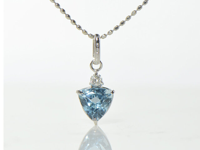 K18 サンタマリアアクアマリン×ダイヤモンド ペンダント トップ  K18ホワイトゴールド YK-AX014CI2の画像1枚目