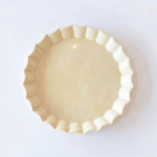 波型リムのケーキ皿(クリーム色)の画像1枚目