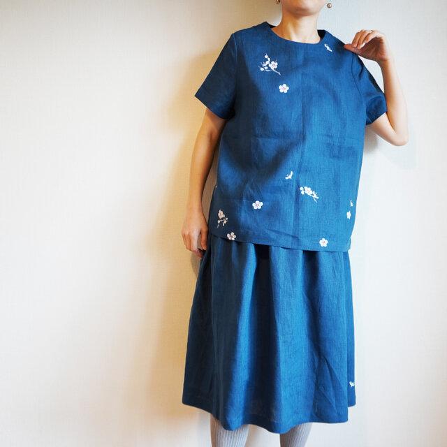 リネン・半袖ブラウス ブルー<白梅>の画像1枚目