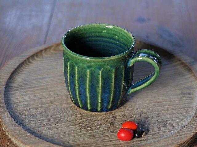 緑釉マグカップ(面)の画像1枚目