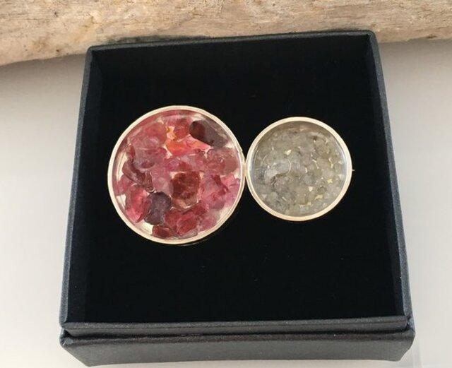 ダイアモンド原石・天然ピンクサファイア・スピネル原石◆Jewel Box SV Broachの画像1枚目