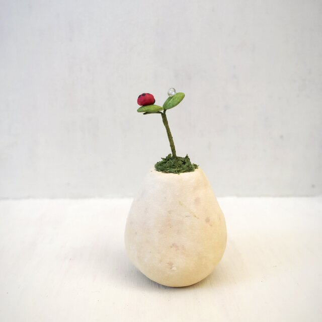 2804.bud 粘土の鉢植えにてんとう虫の画像1枚目