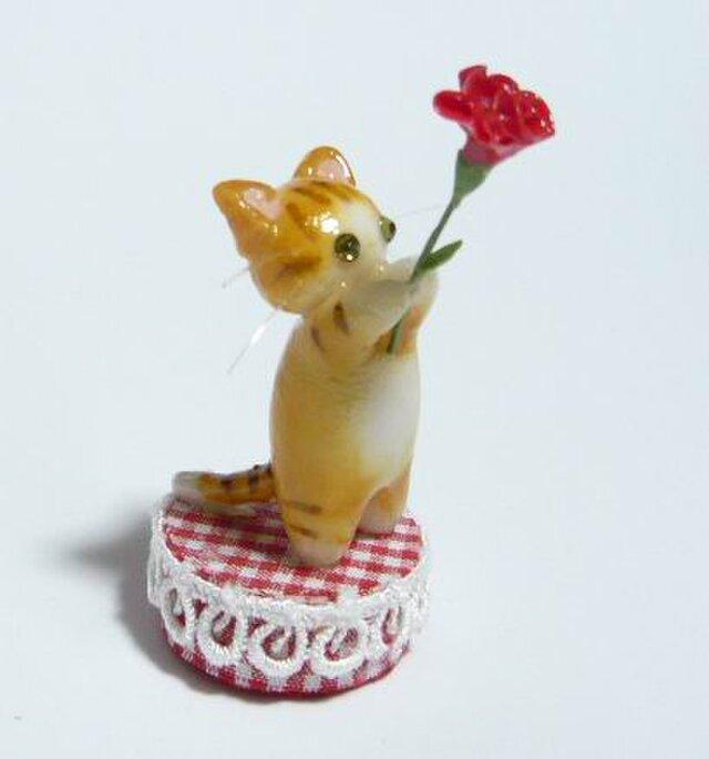 にゃんこのしっぽ〇母の日〇カーネーション〇猫〇茶とら白猫の画像1枚目