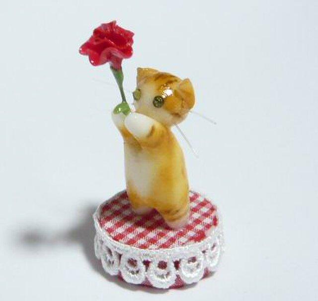 にゃんこのしっぽ〇母の日〇カーネーション〇猫〇スコティッシュフォールド〇茶とら白猫の画像1枚目