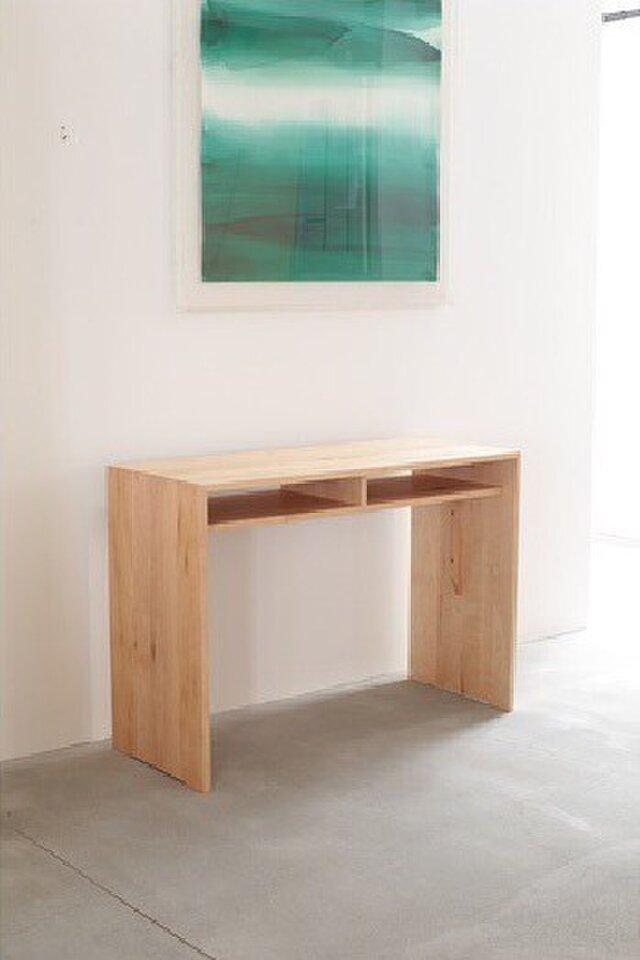 受注生産 職人手づくり デスク パソコン机 作業台 テーブル サイズオーダー可 天然木 木目 収納 家具 シンプル 国産の画像1枚目