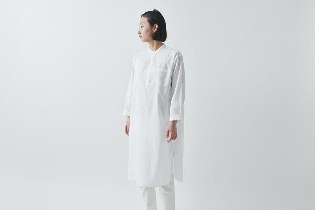 【sizeS再入荷】HANDROOM WOMEN'S クルタシャツ(ホワイト)の画像1枚目