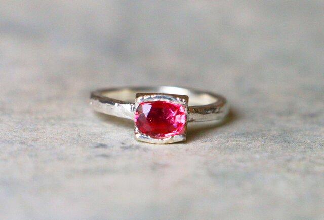 天然石*ピンクトルマリン 指輪*11号 SVの画像1枚目