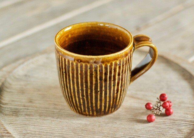 飴釉マグカップ(鎬)の画像1枚目