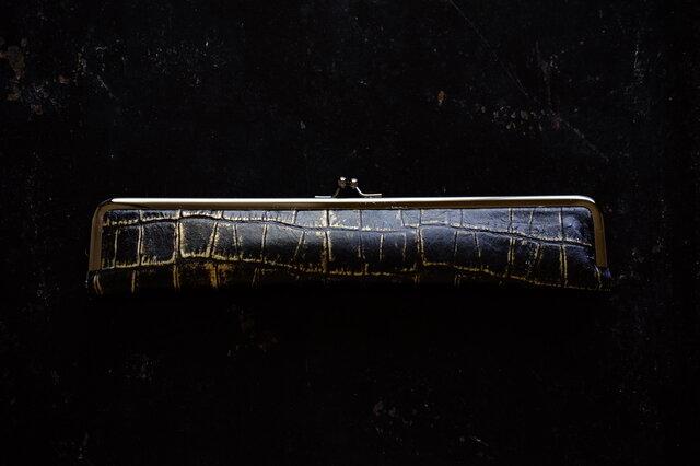 ダンディな紳士用扇子ケース/24cm/クロコ型押しMothGoldの画像1枚目