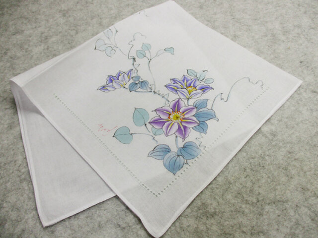 綿ハンカチ・ピコ刺繍付き(クレマチス)の画像1枚目