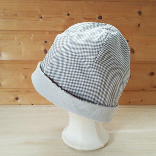 【値下げ】ギンガムチェックとガーゼのリバーシブル帽子*グレー×スーパーライトグレーの画像1枚目