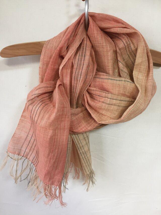 手紡ぎ糸・草木染めのストール M25-②の画像1枚目