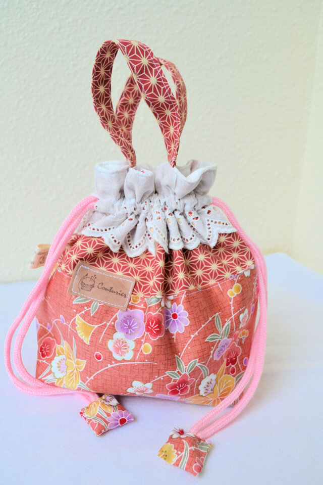 カワイイお母さん巾着♪和柄ピンクの画像1枚目