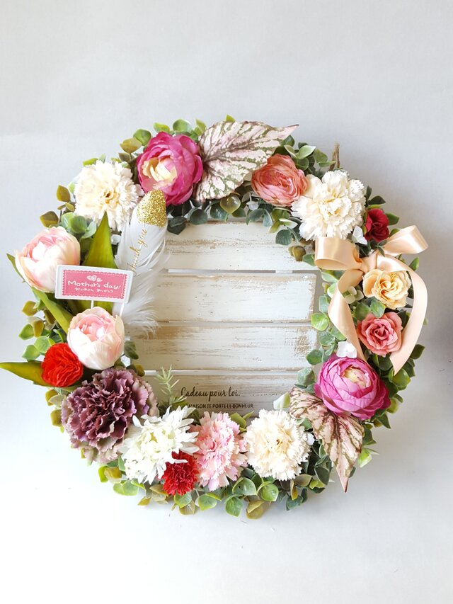 mothers day♡*2019母の日】*Flowerリース*(LL35㎝) カーネーション(pink)*の画像1枚目