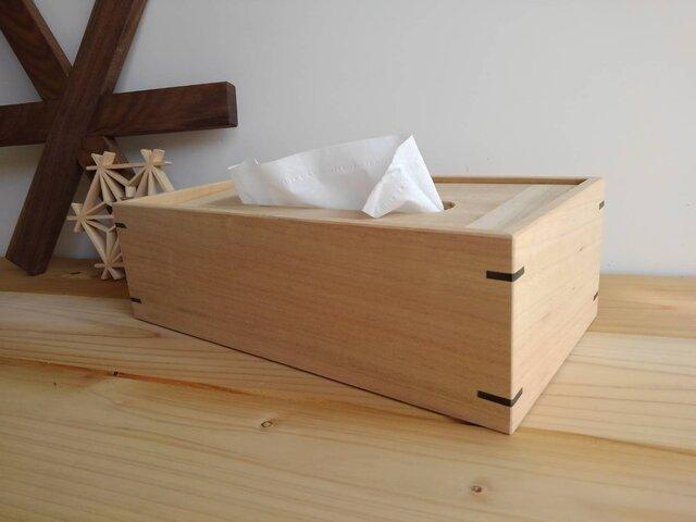 楠香るティッシュケース 100%自然素材(かんざし黒檀)の画像1枚目