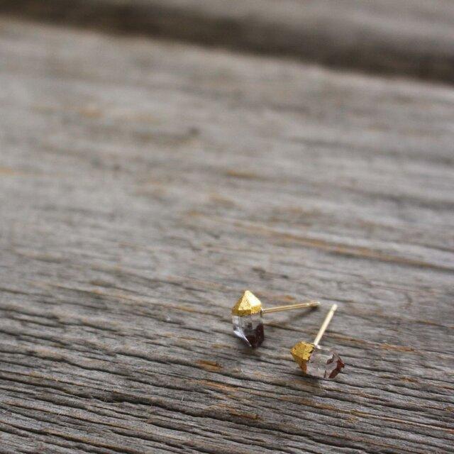 Herkimer Diamonds Stud Earrings w/ JapaneseLacquer, GoldLeafの画像1枚目