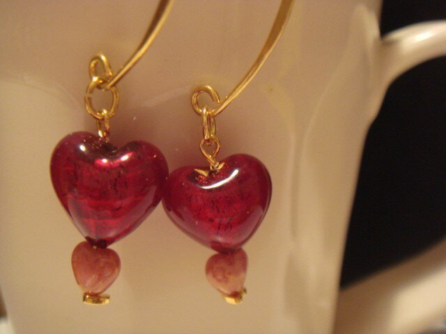 Heart of glass earring(wine red)の画像1枚目