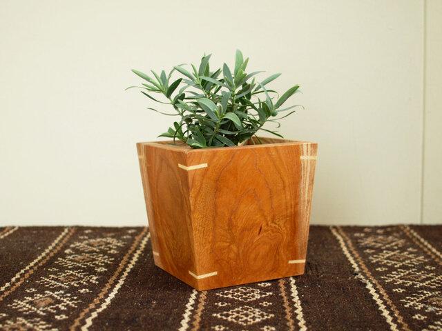 木製 鉢カバー ケヤキ材1 3号鉢用 植木鉢カバーの画像1枚目