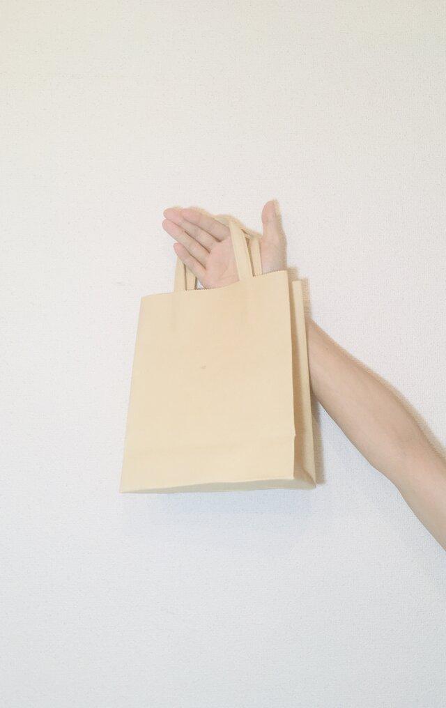 豚革 ベージュ 紙袋型 ショッピングバッグ トートバッグの画像1枚目
