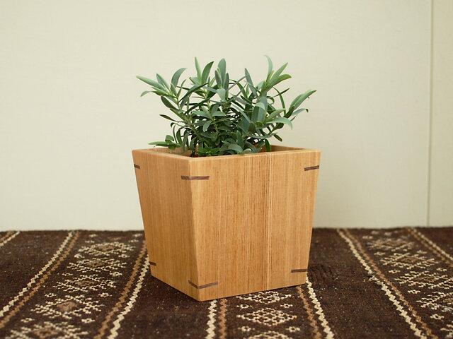 木製 鉢カバー タモ材1 3号鉢用 植木鉢カバーの画像1枚目