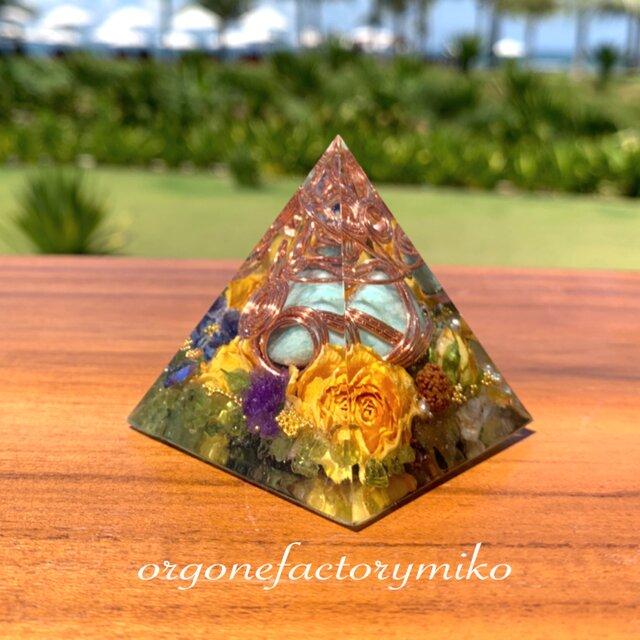 スーパー☆バリ島アマゾナイト 希望の象徴 ペリドット イエローオパール 幸運 ポジティブ 幸運メモリーオイル入 オルゴナイトの画像1枚目