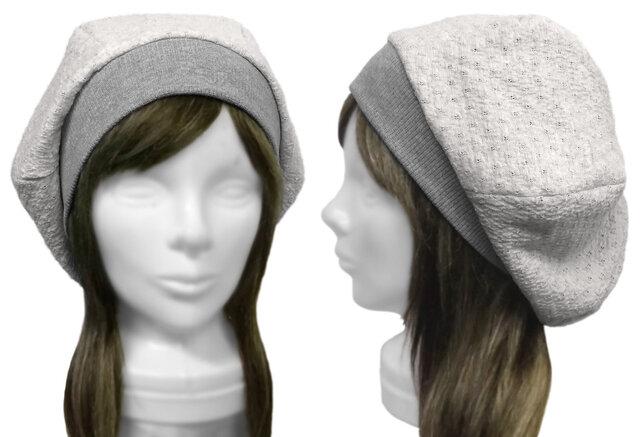 透かしフクレ織コットンニット/リブ付ベレー帽(ゆったり)◆杢ライトグレーの画像1枚目