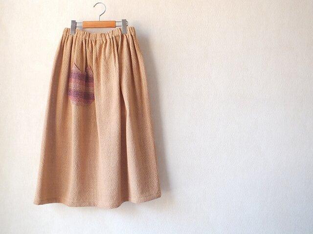 手織り綿のねこポケスカートの画像1枚目