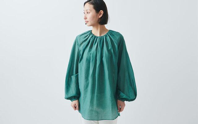 【送料無料】enrica cottonsilk blouse green/ botanical dyeの画像1枚目