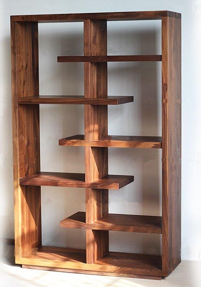 オーダーメイド 職人手作り オープンシェルフ モダン 収納棚 本棚 見せる収納 マガジンラック 天然木 サイズオーダー可の画像1枚目