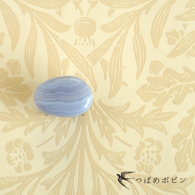 天然石の帯留 ◎ ブルーレースアゲート/F【送料無料】の画像1枚目