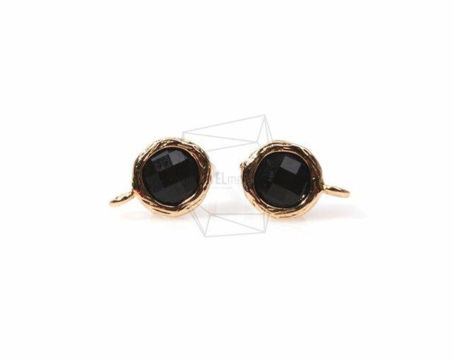 ERG-152-G【2個入り】ガラスピアス,Glass Post Earring(Black)/ 8mmx10mmの画像1枚目