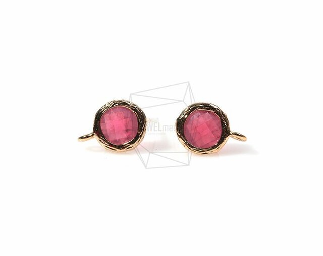 ERG-154-G【2個入り】ガラスピアス,Glass Post Earring(Ruby)/ 8mmx10mmの画像1枚目