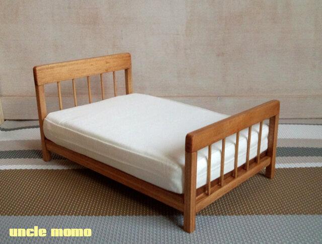 【受注制作】ドール用ベッド ダブル(色:チェスナット) 1/12ミニチュア家具の画像1枚目