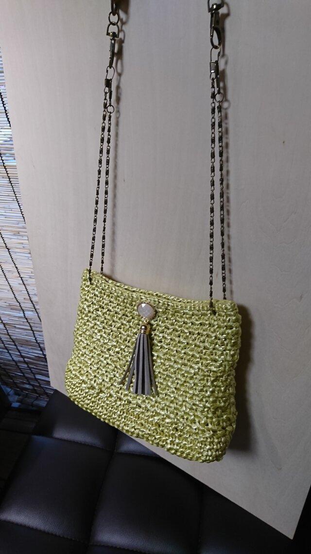 手編み *ミモザ色 バッグ②*バッグの中にポーチ付き♪ショルダーバッグ お財布バッグ 送料無料【HANDMADE*HK*】の画像1枚目
